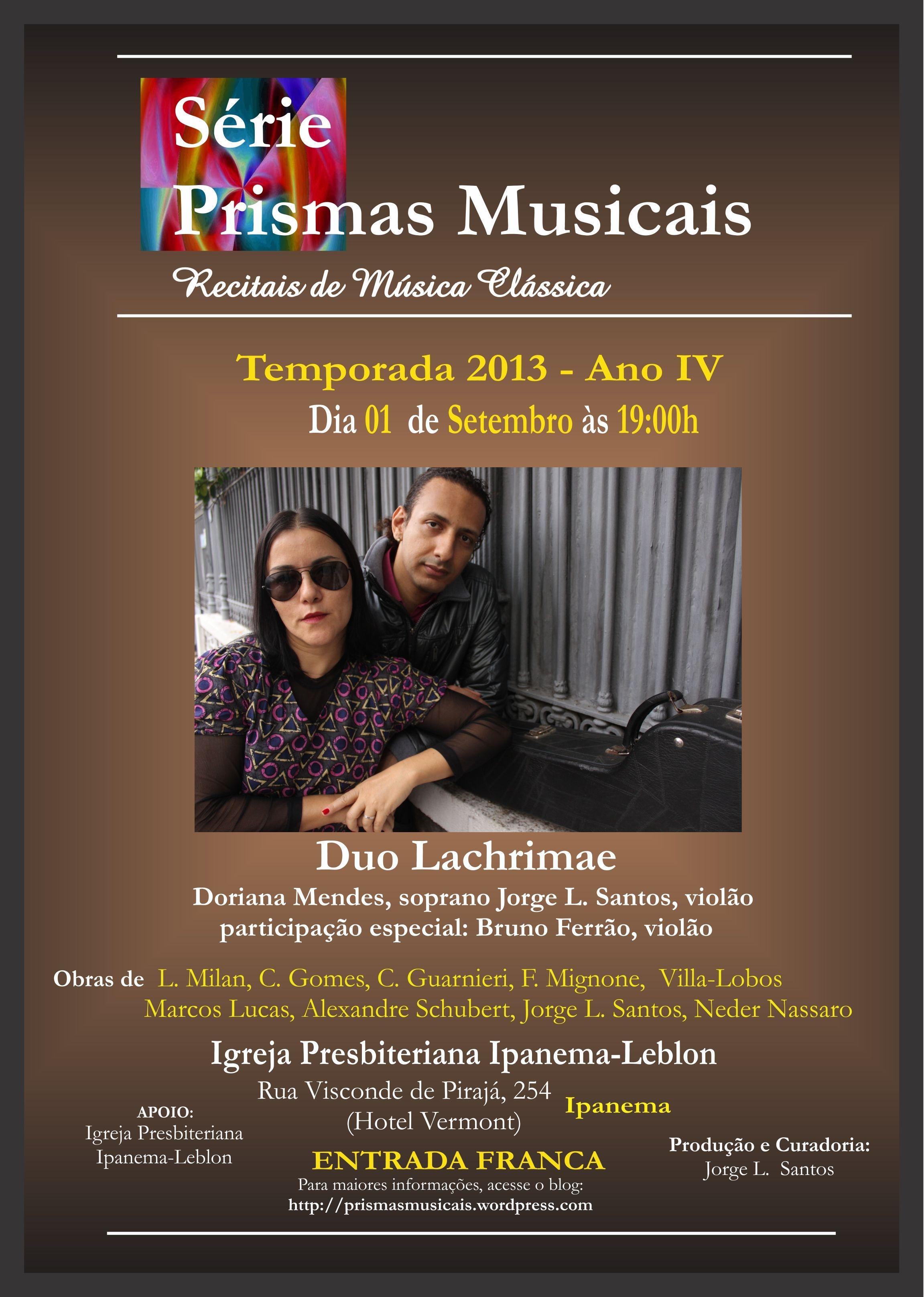 Duo Lachrimae na Série Primas Musicais - 01.09 - 19h - Ipanema